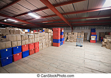 warehouse - hundreds of generic boxes with merchandise and...