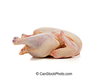 Raw, whole chicken on white - A raw, whole chicken on a...