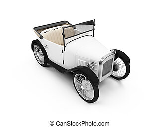 Old fashioned retro car - isolated white Old fashioned retro...