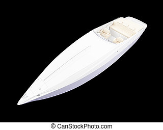 White Boat isolated front view