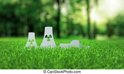 Nuclear power plant paper alternative energy concept - White...