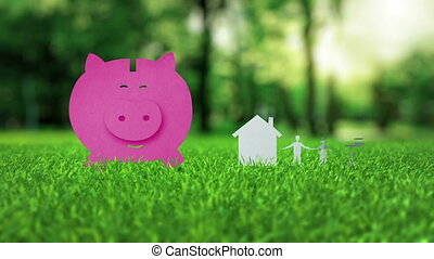 Pink piggy bank animation on green nice summer grass...