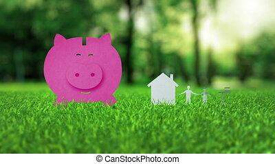 Pink piggy bank animation on green nice summer grass...
