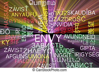 Envy multilanguage wordcloud background concept glowing -...