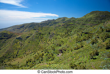 Inland La Gomera, green terraced valley sloping down to the...
