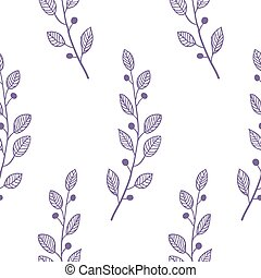 Outline seamless pattern background with branch - Outline...