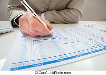 Businessman Making Gantt Diagram - Close-up Of Businessman...
