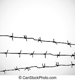 Barbed wire silhouettes vector on the white