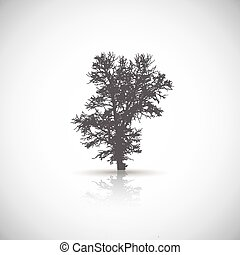 Vector tree - Abstract vector tree on the gray background