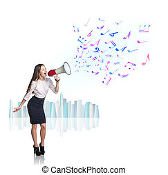 Businesswoman - Business woman sing with megaphone with...