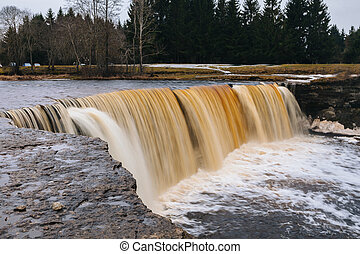 Estonian waterfall at spring - Estonian waterfall Jagala at...
