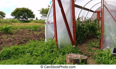 farmer greenhouse tool - Young farmer man in blue waterproof...