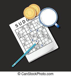 illustration of Sudoku game, mug of milk and cookies - top...