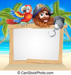 Pirate and parrot beach sign - Cartoon pirate beach sign...