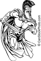 Spartan with sword - An illustration of a warrior character...