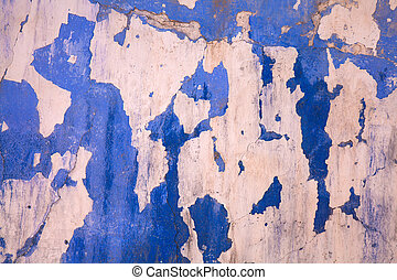 peeling wall paint - old cenemnt wall overpeinted many...