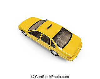 Yellow taxi isolated over whie - isolated yellow car on a...