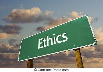 éticas, verde, camino, señal