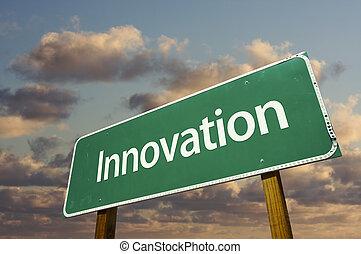 innovación, verde, camino, señal
