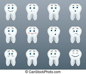 Set of stickers teeth
