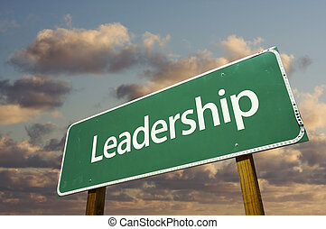 Leadership Green Road Sign with dramatic blue sky and clouds...
