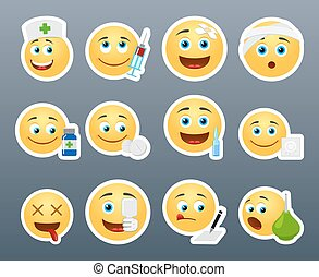 Emoticons doctor - Funny and beautiful smiles in different...