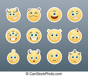 Critters - Set of funny and very scary emoticons which sharp...
