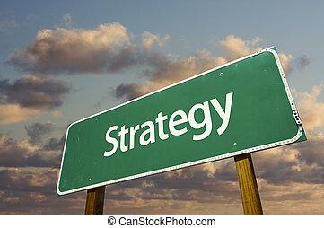 estrategia, verde, camino, señal