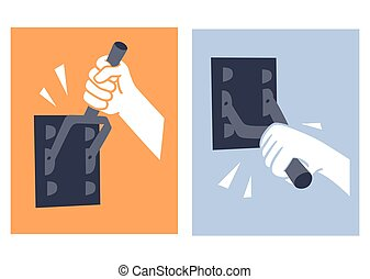 contact-breaker - This is an illustration of hand switching...
