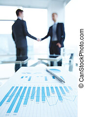 Statistics - Business document with chart and graph on...
