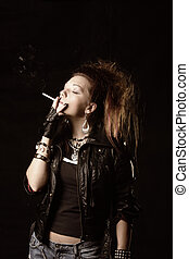 Smoking girl in black photo over dark background