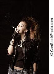 Fumar, niña, negro