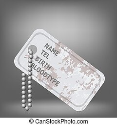 Military Dog Tag on Grey Background. Silver Identity Tag.