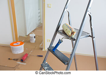 home renovation - Ladder, roller and buckets, home...