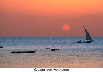 Traditional dhow on Zanzibar coast - A traditional boat dhow...
