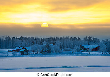 Polar winter dusk landscape in Lapland