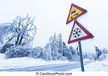 Dangerous and icy road with sleet covered fallen trees