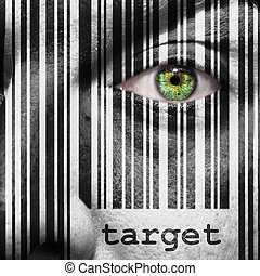 Barcode, target, superimposed, on, a, man's, face