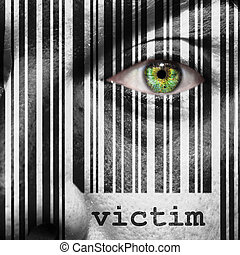 Barcode, victim, superimposed, on, a, man's, face