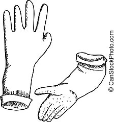 Outlined Rubber Gloves - Hand drawn outlined latex rubber...