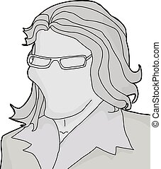 Woman with Eyeglasses on Empty Face