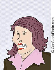 Cringing Lady with Purple Hair - Cartoon of cringing white...