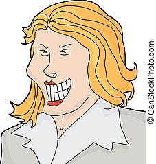 Laughing Businesswoman - Cartoon of laughing businesswoman...