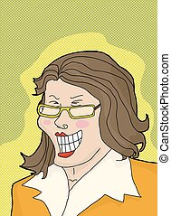Laughing Lady Over Green