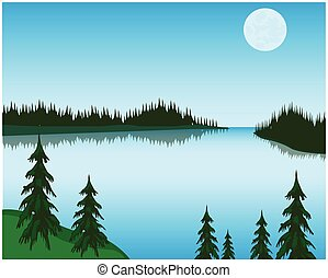 Lake in wood - The Landscape beautiful lake in woodVector...