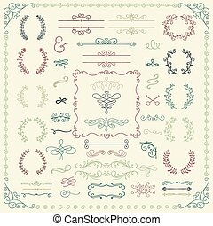 Colorful Hand Drawn Design Elements - Colorful Vintage Hand...