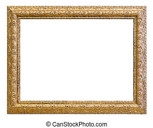 Vintage gold color picture frame isolated on white...