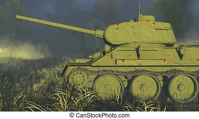 Russian Tank T 34 Side view - Close-up sideview of the...