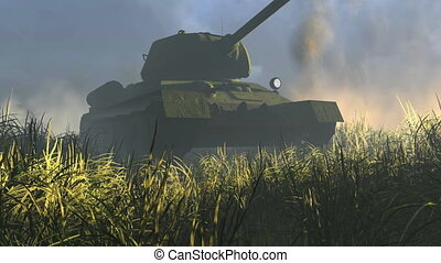 Legendary Tank T 34 Front view - Close-up front view of...