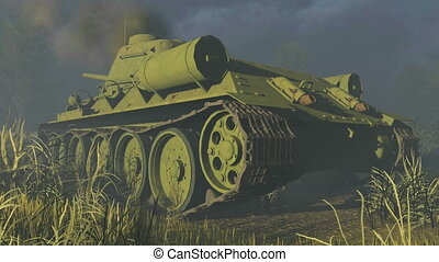 Old Russian Tank T 34 Rear view - Rear view of the legendary...